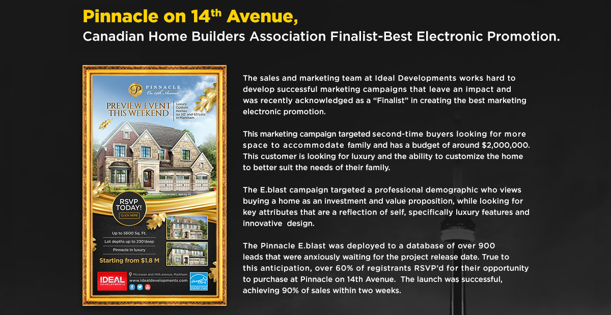 Pinnacle on 14th Avenue, CHBA Finalist-Best Electronic Promotion